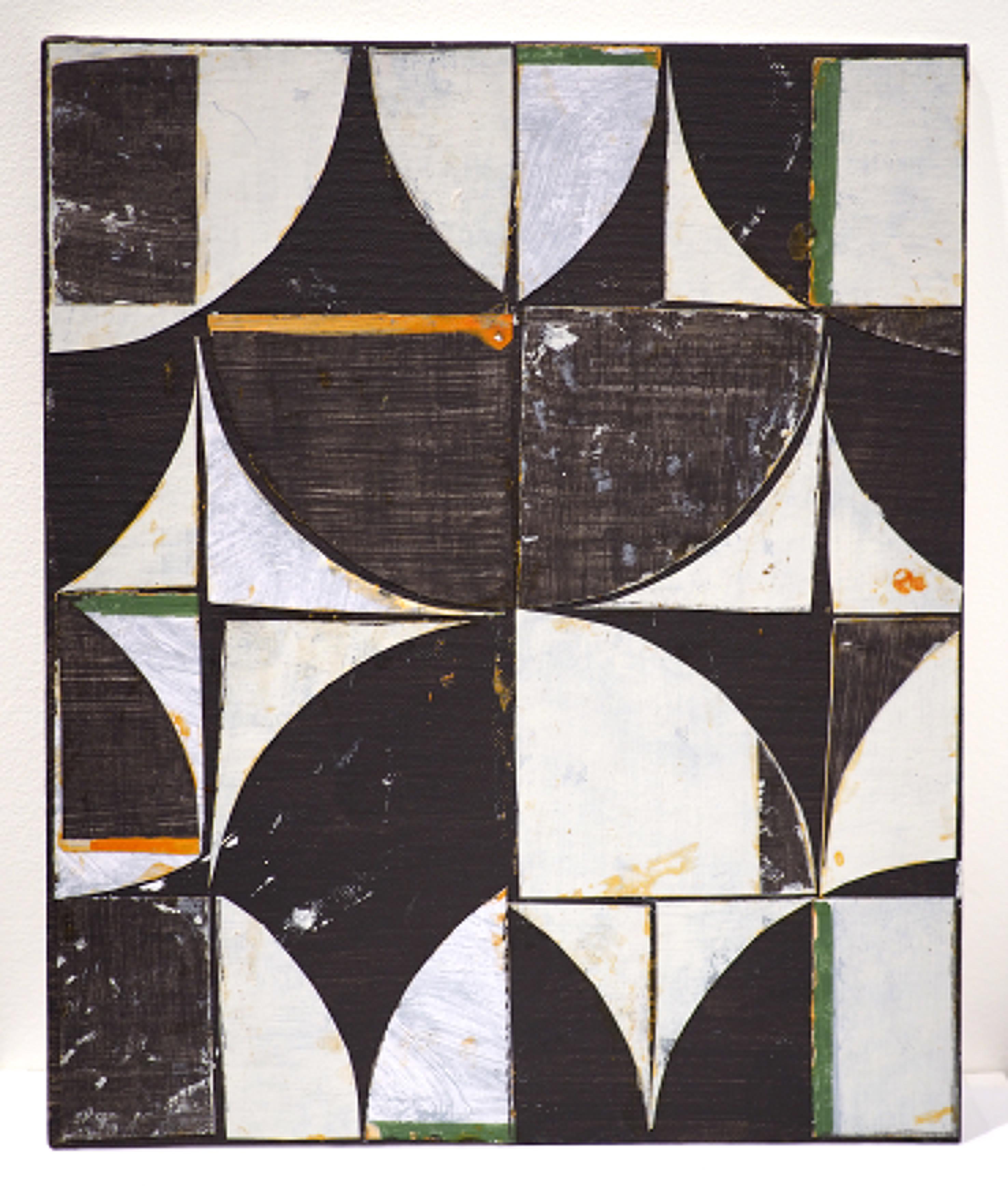 Collages abstraits élaborés à partir de fragments de toile découpés, peints et recomposés.
