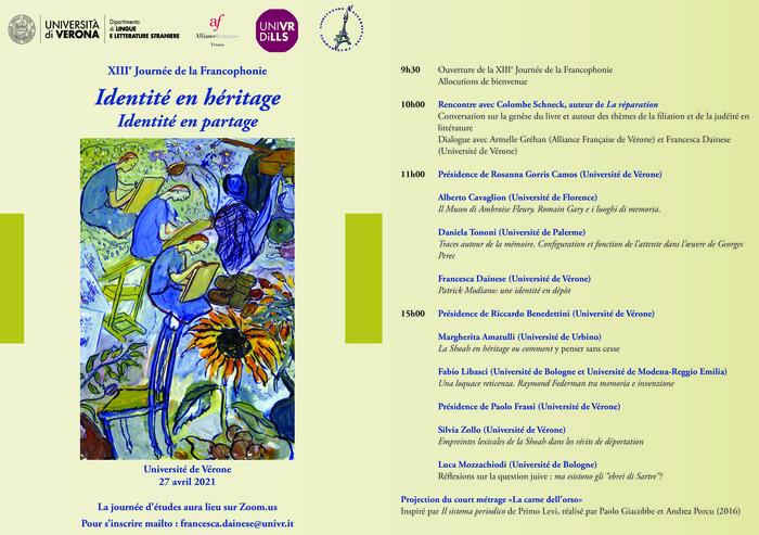 La Journée d'études vise à questionner les différentes manières d'écrire l'identité juive de l'Après-Shoah, dans la littérature française et francophone contemporaine