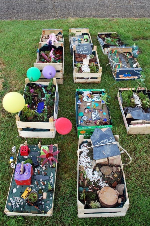 Jardins Miniatures jardins miniatures dans des cagettes à légumes