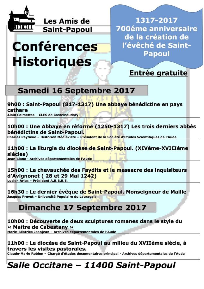 Journées du patrimoine 2017 - 700ème anniversaire de la création de l'évêché de Saint-Papoul