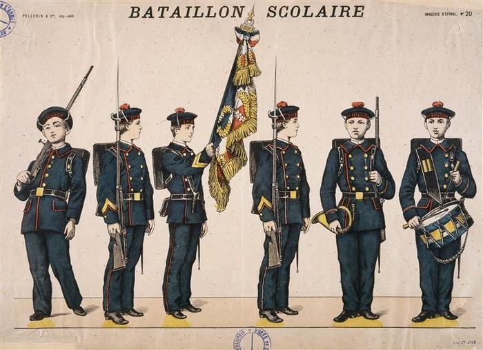 Crédits image : Bataillon scolaire, estampe du XIXe siècle (C) Paris - Musée de l'Armée, Dist. RMN-Grand Palais