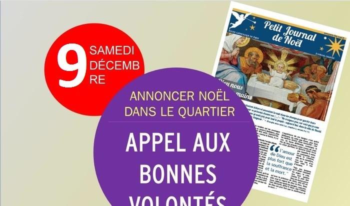 Distribution du journal de Noël à la sortie d'Intermarché