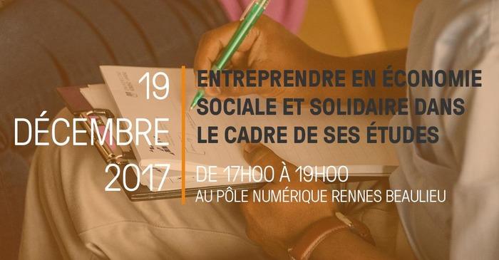 Atelier - Entreprendre en Économie Sociale et Solidaire dans le cadre de ses ét…