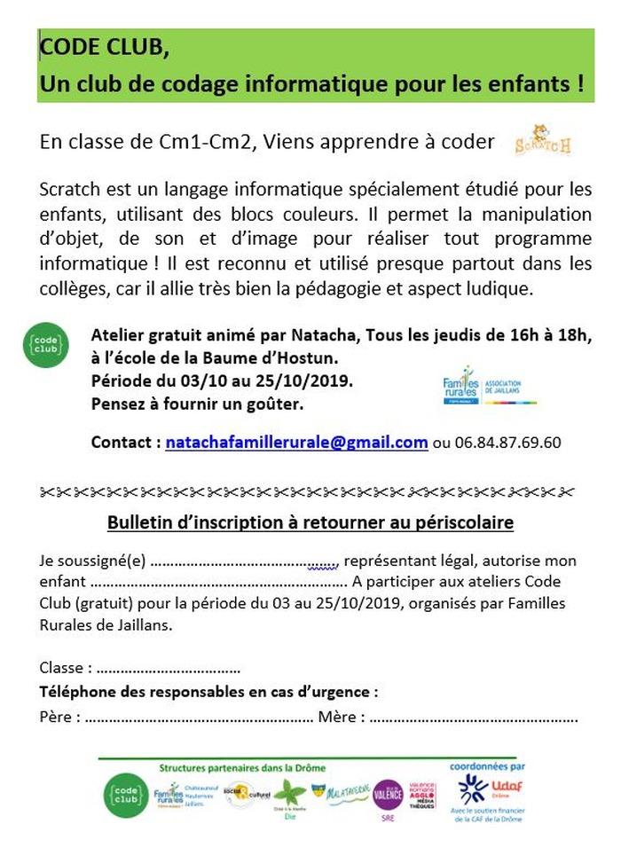 Ateliers Code Club à La Baume d'Hostun