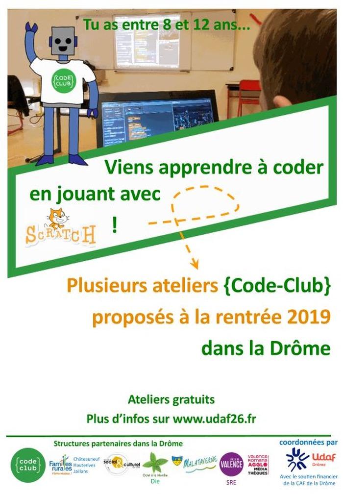 Ateliers Code Club Drôme 2019-2020