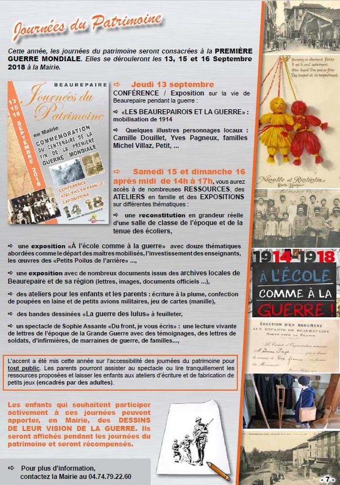 Journées du patrimoine 2018 - Ateliers manuels et expositions pour toute la famille sur la Première Guerre Mondiale.