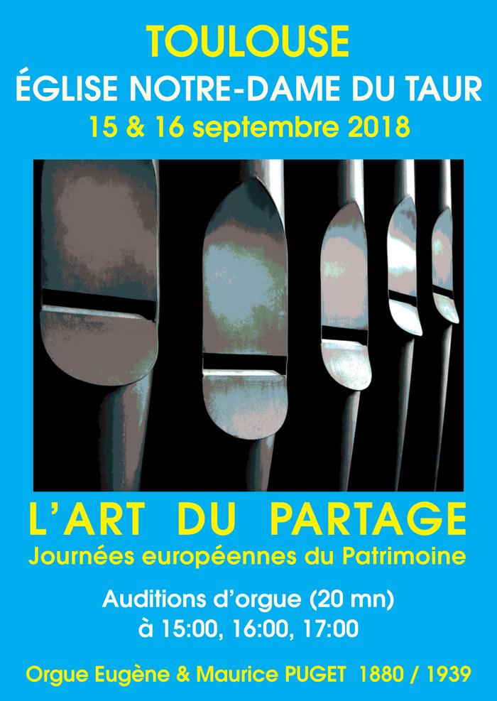 Journées du patrimoine 2018 - Auditions de l'orgue Eugène & Maurice PUGET (1880/1939)
