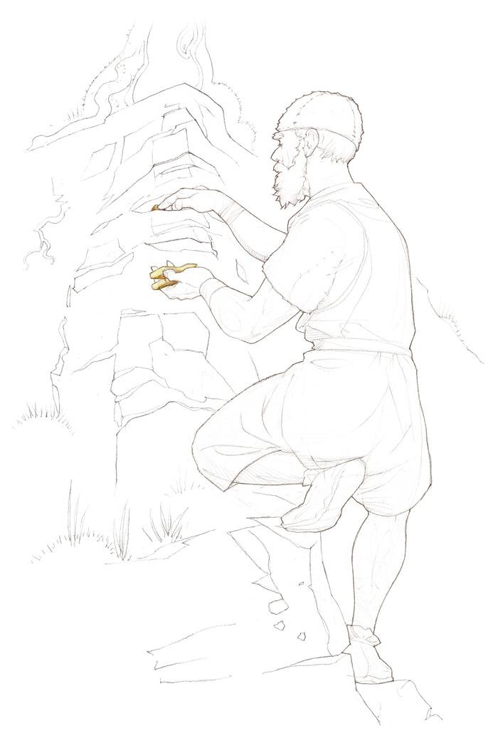 Crédits image : Un homme dépose une hache dans une fissure d'une falaise faisant face à l'habitat du Camp du Château à Salins-les-Bains (Jura). Illustration : Pierre-Yves Videlier – Atelier Scène de papier