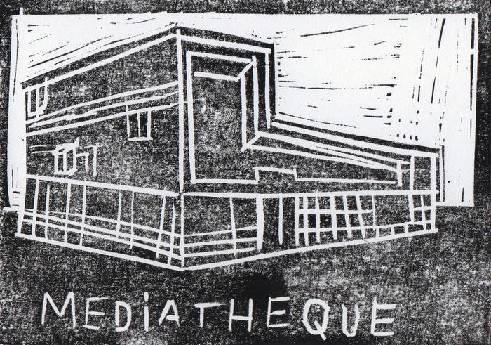 Crédits image :  Gravure de la médiathèque de Pierrefitte-sur-Seine