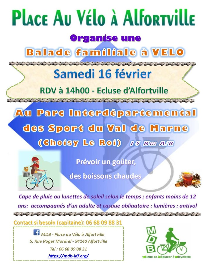 Balade Vélo au Parc de Choisy - 16 Février - RDV à 14h00 à l'Ecluse d'Alfortville