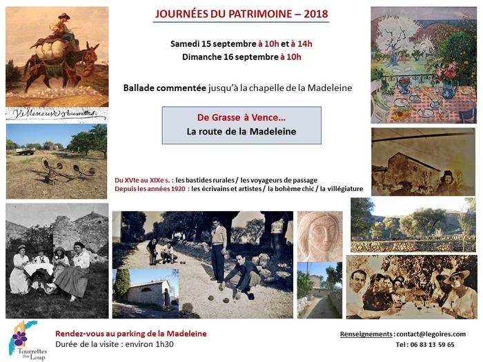 Journées du patrimoine 2018 - Ballade commentée sur la route de la Madeleine