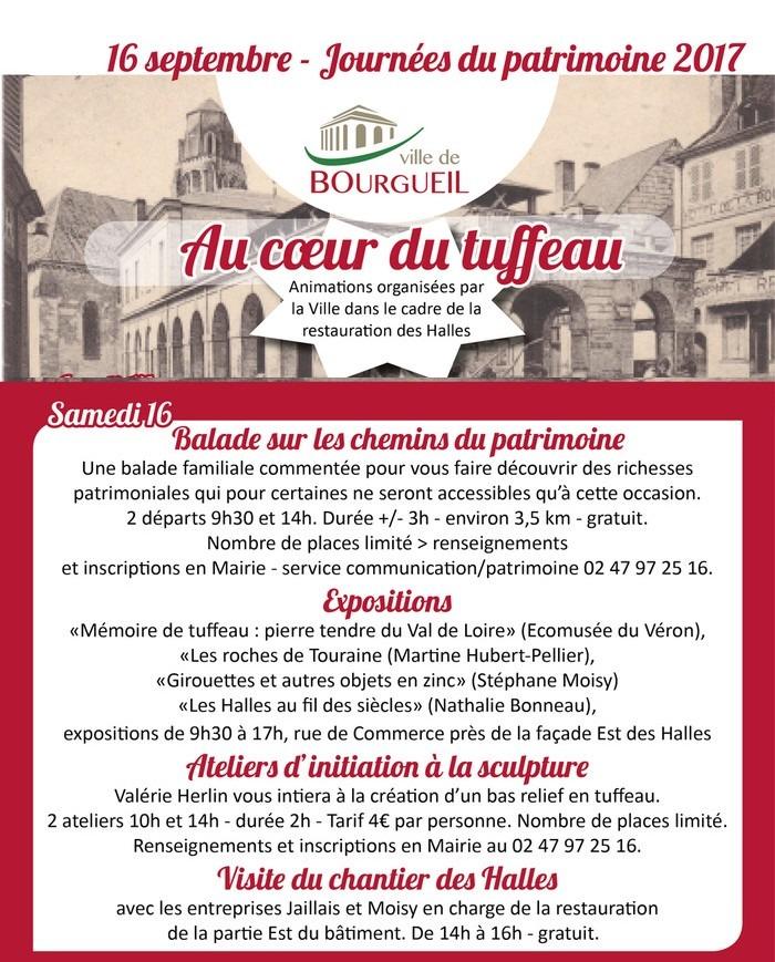 Journées du patrimoine 2017 - «Mémoire de tuffeau», «Les roches de Touraine», «Girouettes et autres objets en zinc» et «Les Halles au fil des siècles»