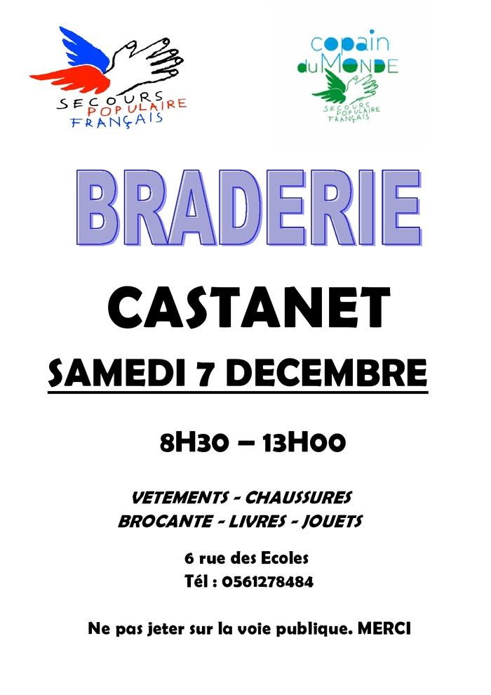 Braderie de Noel à Castanet par le Secours Populaire Français