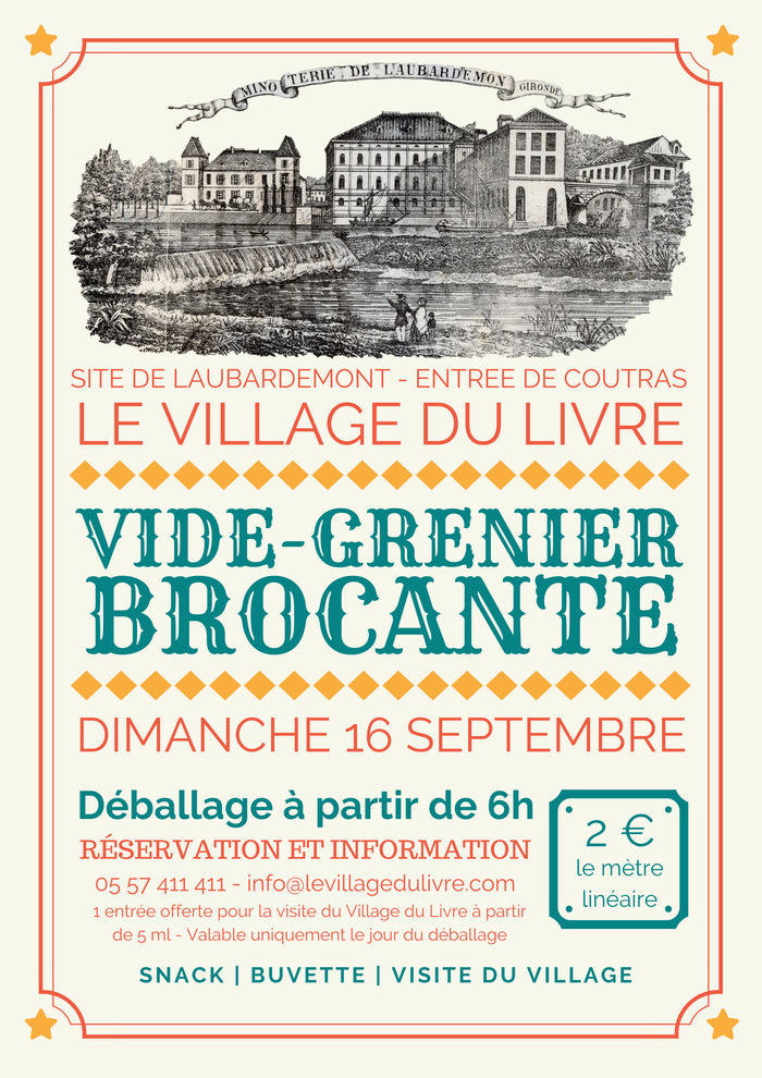 Journées du patrimoine 2018 - Brocante, vide grenier, visite libre du Village du Livre et visite guidée des turbines
