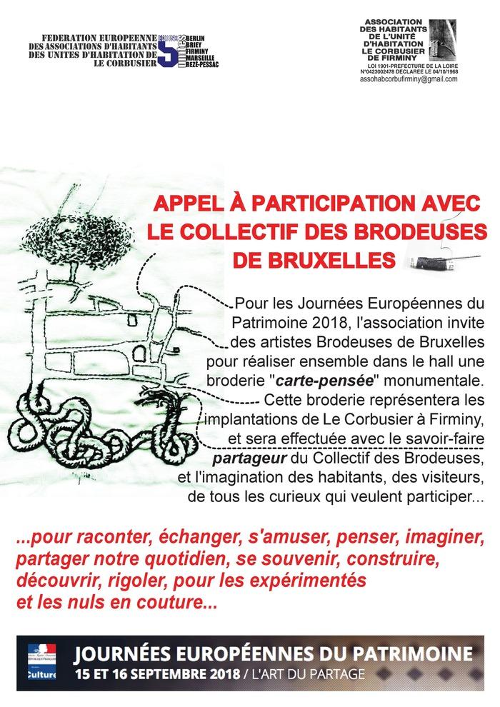 Journées du patrimoine 2018 - Atelier «Broderie collective» dans le Hall de l'Unité d'Habitation Le Corbusier de Firminy