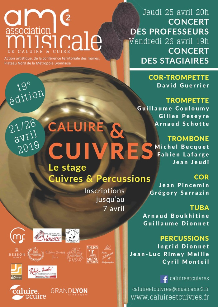 Caluire & Cuivres 2019 : stage Cuivres & Percussions