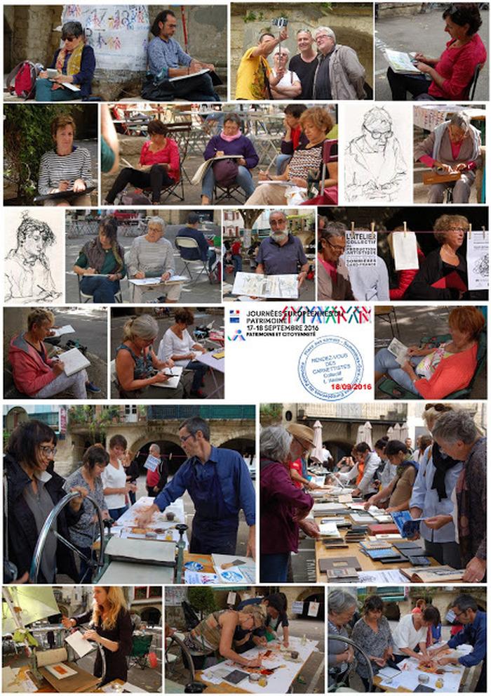 Journées du patrimoine 2018 - Carnets de croquis du patrimoine : rencontre de carnettistes. L'Atelier invite les carnettistes pour 3 jours de croquis sur site
