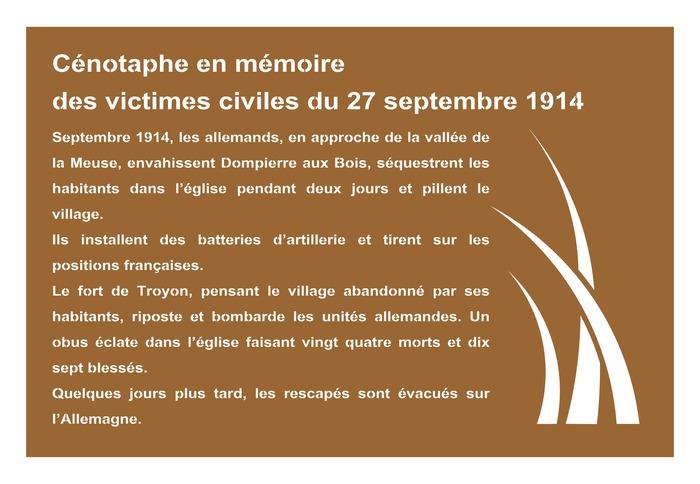 Crédits image : Cénotaphe du cimetière de Dompierre © Mr. Cousin Patrick
