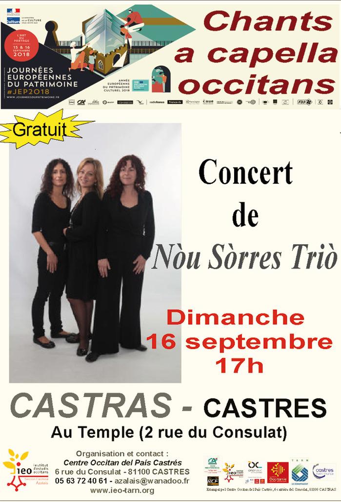 Journées du patrimoine 2018 - Concert avec Nòu Sòrres Triò