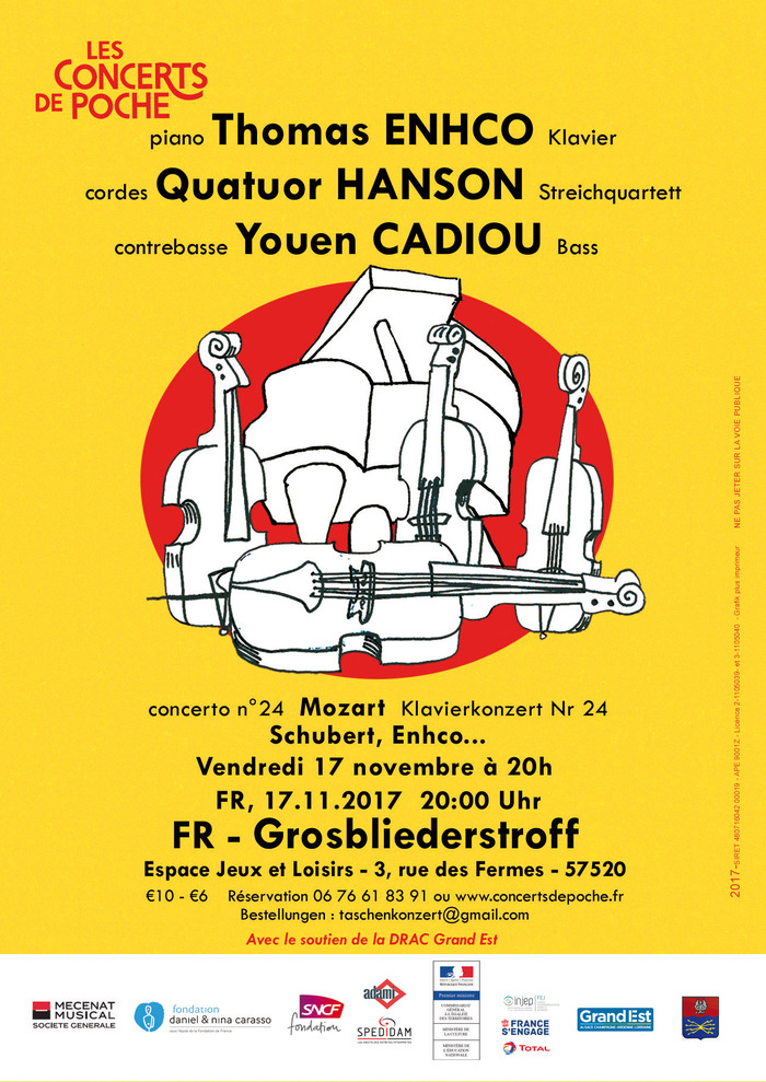 Thomas ENHCO piano, Quatuor HANSON cordes, Youen CADIOU contrebasse