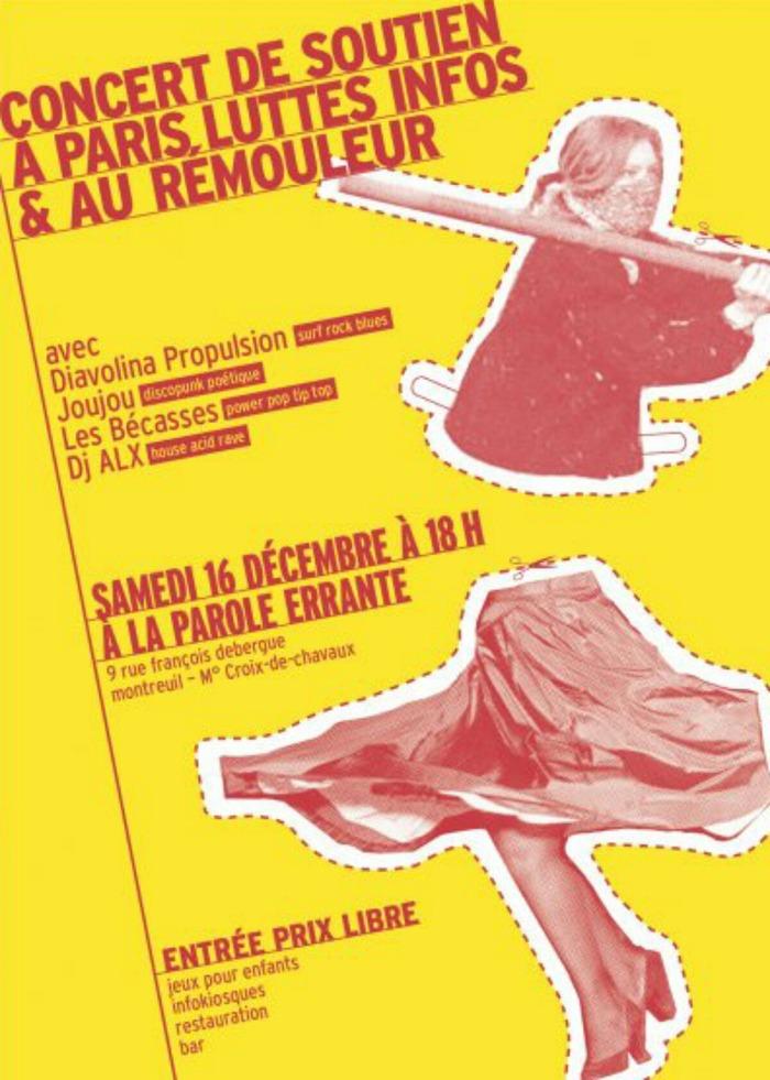 Concert de soutien à Paris Luttes info et au Rémouleur