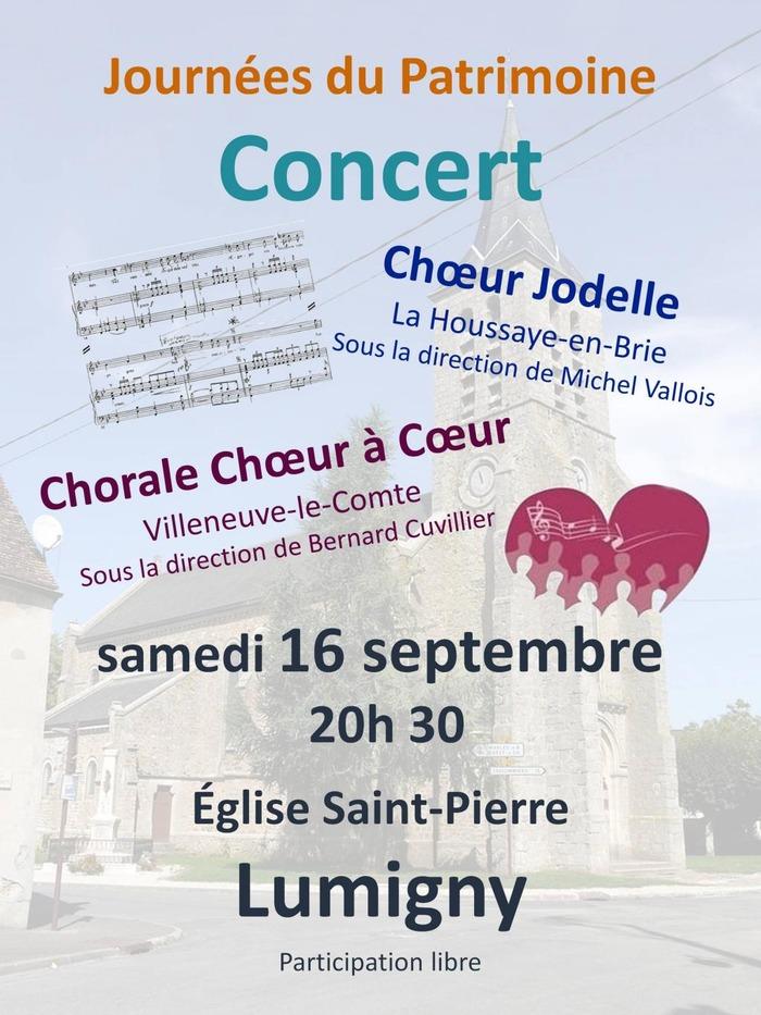 Journées du patrimoine 2017 - Concert des chorales Jodelle et chœur à cœur
