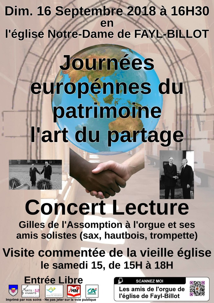 Journées du patrimoine 2018 - Concert Lecture : l'art du partage ou la concordance des temps