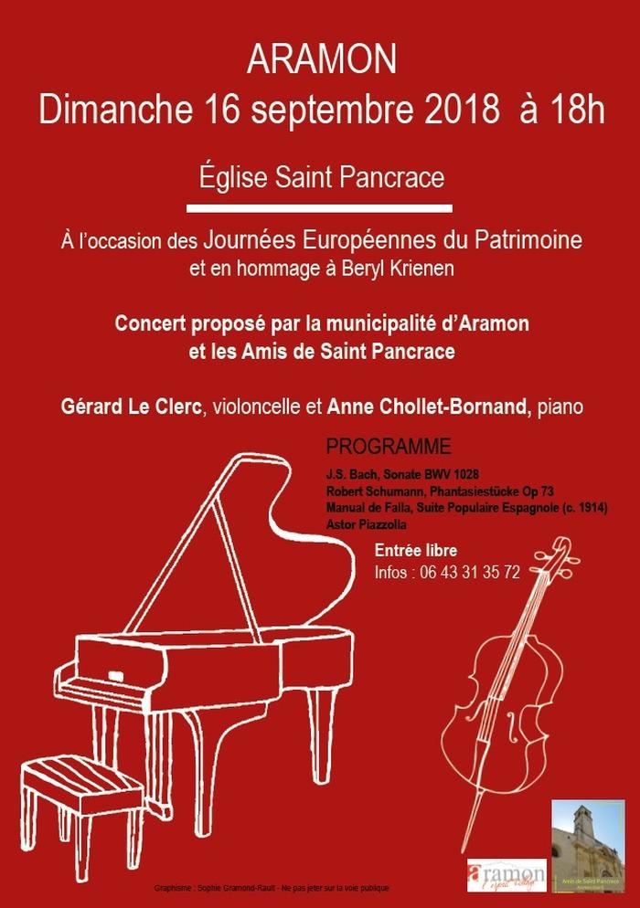Journées du patrimoine 2018 - Concert violoncelle et piano