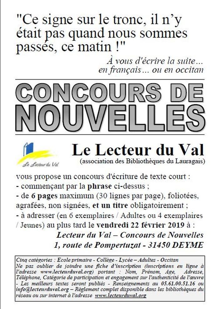 Concours de nouvelles, en français ou en occitan, jusqu'au 22 février 2019