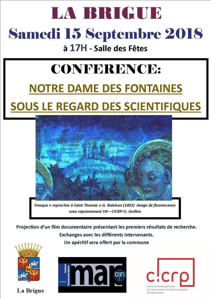 Journées du patrimoine 2018 - conférence- Notre Dame des Fontaines sous le regard des scientifiques