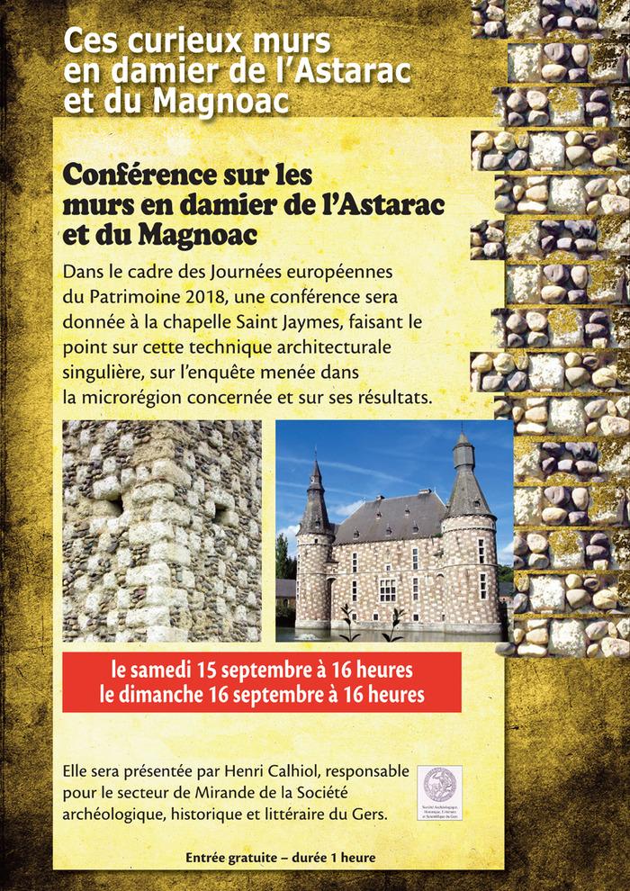 Journées du patrimoine 2018 - Conférence sur les murs en terre crue