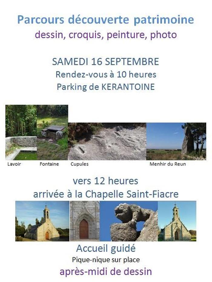 Journées du patrimoine 2017 - Croq'Patrimoine (Lavoir et fontaine de Kerantoine, Menhir et cupules du Reun et Chapelle Saint Fiacre)