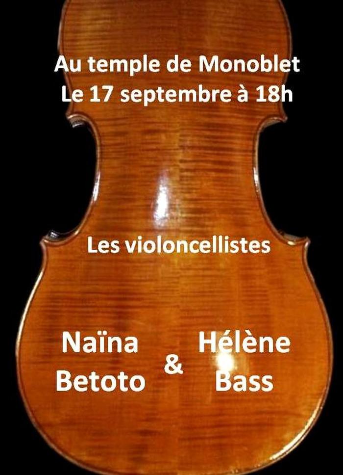 Journées du patrimoine 2017 - Deux violoncellistes au temple