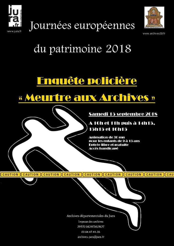 Journées du patrimoine 2018 - Enquête policière aux Archives du Jura