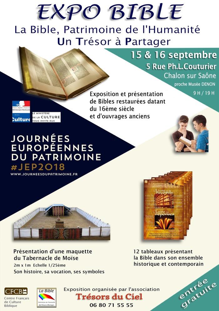 Journées du patrimoine 2018 - Expo bible : la bible, patrimoine de l'humanité, un trésor à partager
