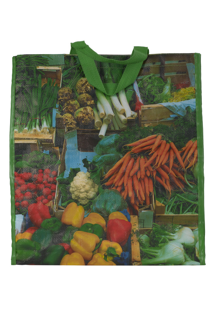 Crédits image : Anonyme, Sac à provision avec photographies de légumes, © collection musée Nicéphore Niépce