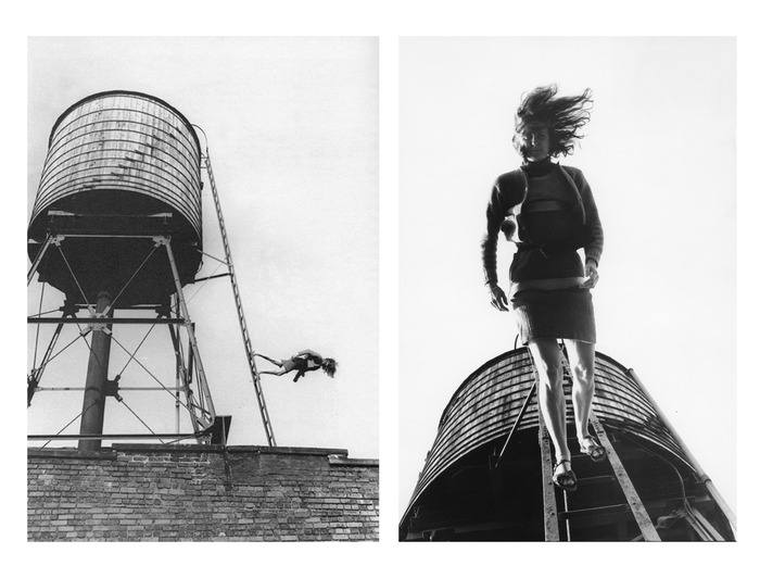 Crédits image : Babette Mangolte, Trisha Brown, Woman Walking Down a Ladder, 1973, diptyque réalisé en 2010. Photo © 1973 / 2010 Babette Mangolte, Courtesy de l'artiste & Broadway 1602.