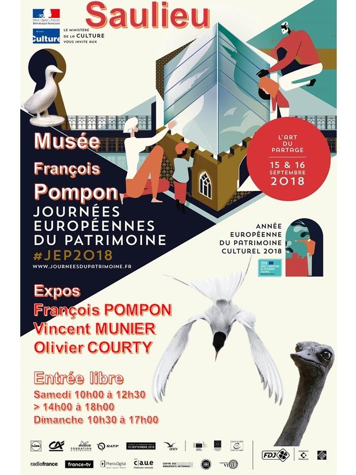Journées du patrimoine 2018 - Exposition art animalier Vincent Munier, photographe, Olivier Courty, sculpteur et François Pompon.