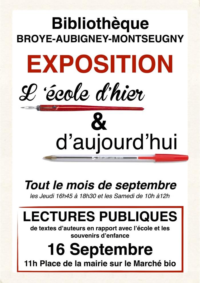 Journées du patrimoine 2018 - Exposition et lectures publiques.