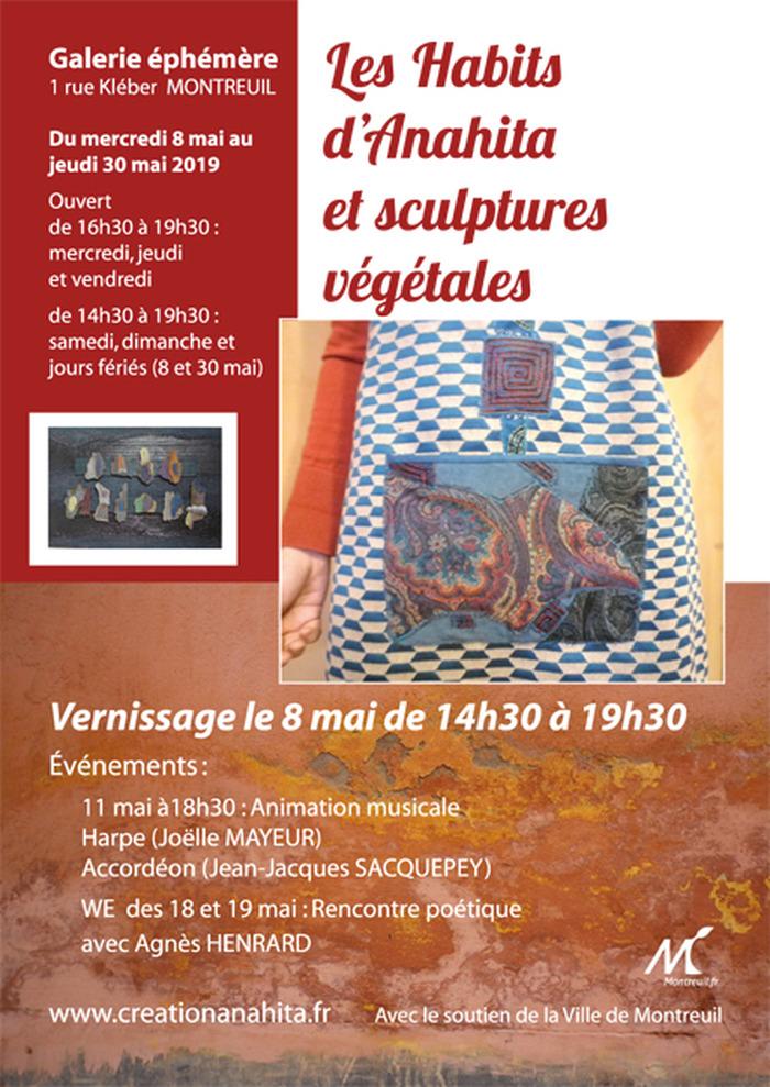 Exposition Les Habits d'Anahita et sculptures végétales