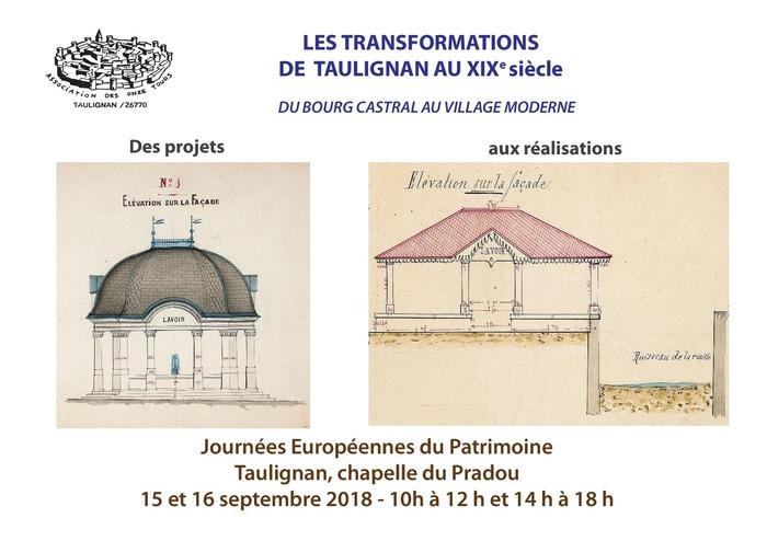 Journées du patrimoine 2018 - Exposition «Les transformations de Taulignan au XIXe siècle».