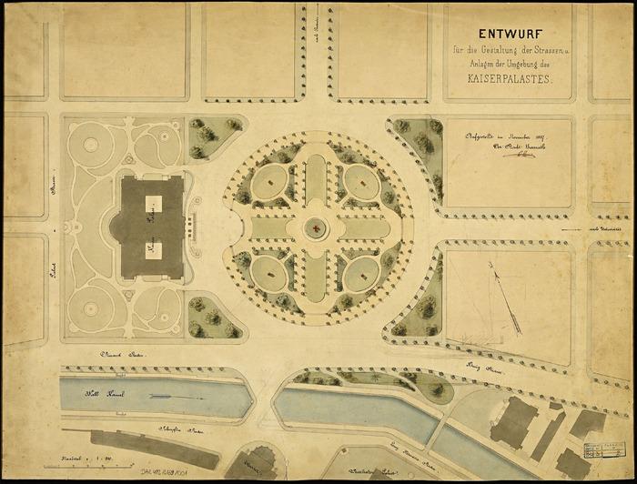 Crédits image : Plan de situation des bâtiments officiels et des aménagements de la place de la République à Strasbourg, Bas-Rhin. ©DRAC Grand Est fonds Denkmalarchiv - Auteurs : Hartel, Neckelmann, Skjold, 1889.
