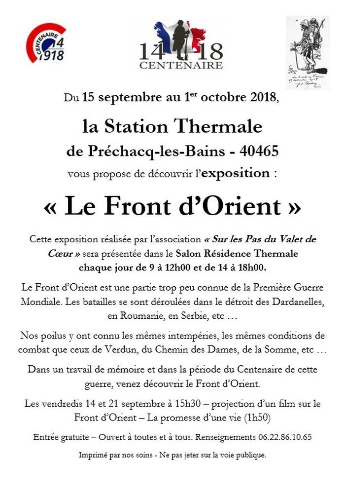Journées du patrimoine 2018 - Exposition sur le Front d'Orient
