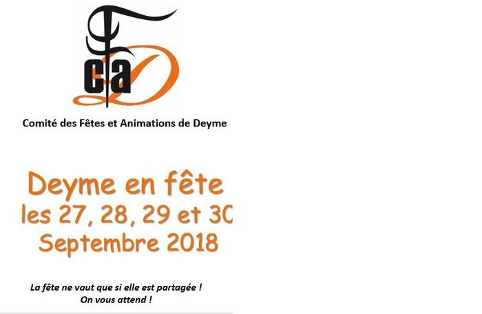 Fete de Deyme 2018 les 27, 28, 29 et 30 septembre