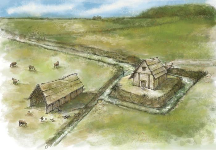 Crédits image : Possible interprétation de l'enclos médiéval. Illustration : C. Courivaud.