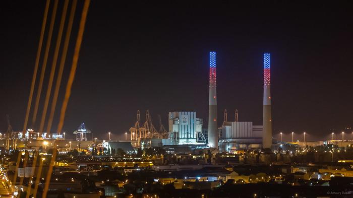 Journées du patrimoine 2018 - Illumination des cheminées de la Centrale EDF du Havre