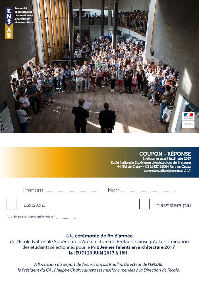 Invitation à la cérémonie de fin d'année // Ecole Nationale Supérieure d'Archit…