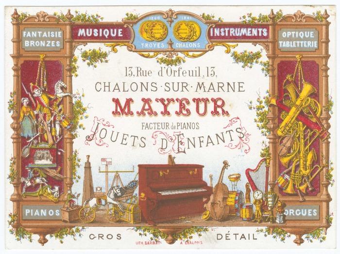 Crédits image : Carte publicitaire du magasin châlonnais Mayeur, sans date [début XXe siècle]. Archives de la Marne, J 5886. - Archives départementales de la Marne