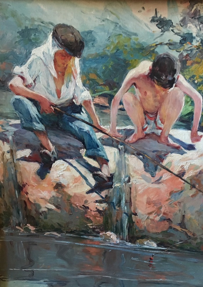 Crédits image :  Sur le barrage, pêcheur et baigneur, huile sur bois, 73 x 50 cm, collection particulière