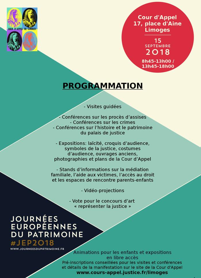Journées du patrimoine 2018 - La cour d'appel de Limoges vous ouvre ses portes